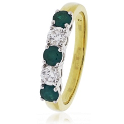 HRRGEM983 Emerald & Diamond 5 Stone Diamond Ring - yellow