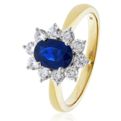 HROGBS1023 Blue Sapphire & Diamond Halo Ring - yellow