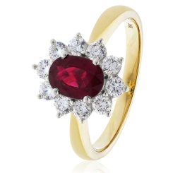 HROGRY1025 Ruby Gemstone & Diamond Halo Ring - yellow