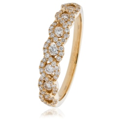 SIRIUS Round cut Crossover Designer Diamond Eternity Ring - rose