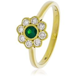 HRRGEM1068 Emerald Gemstone Flower Halo Ring - yellow