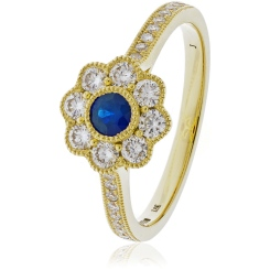 HRRGBS1062 Deco Round cut Blue Sapphire Cocktail Diamond Ring - yellow