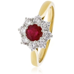 HRRGRY1028 Round cut Ruby & Diamond Halo Ring - yellow