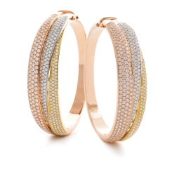 HBRDB062 Pave Set Triple Diamond Bangle - rose