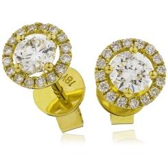 HER141 Single Halo Diamond Earrings - yellow