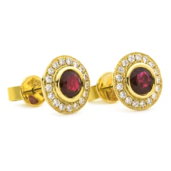 HERGRY265 Round Shape Ruby Halo Earrings - yellow