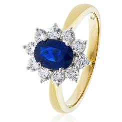 HROGBS1023 Blue Sapphire & Diamond Halo Ring - yellow