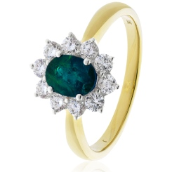 HROGEM1024 Emerald Gemstone & Diamond Halo Ring - yellow