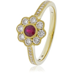 HRRGRY1063 Deco Round cut Ruby Cocktail Diamond Ring - yellow