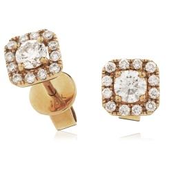 HEP144 Designer Princess Halo Diamond Earrings - rose