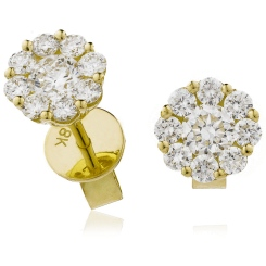 HERCL109 Round cut Cluster Diamond Earrings - yellow