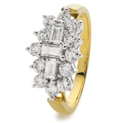 HRBCL887 Baguette and Round cut Boat Cluster Diamond Ring - yellow