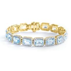 HBEGAQ055 Emerald Shape Aquamarine & Diamond Single Row Bracelet - yellow
