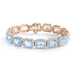 HBEGAQ055 Emerald Shape Aquamarine & Diamond Single Row Bracelet - rose
