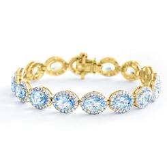HBOGAQ054 Aquamarine & Diamond Halo Tennis Bracelet - yellow