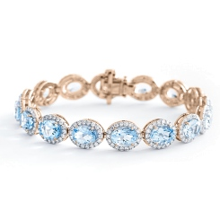 HBOGAQ054 Aquamarine & Diamond Halo Tennis Bracelet - rose