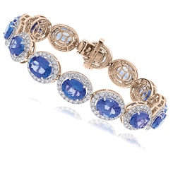 HBOGTZ051 Tanzanite & Diamond Halo Single Line Bracelet - rose