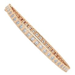 DAVENPORT Bezel set Princess cut Single Line Bracelet - rose