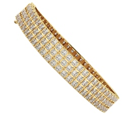 IVANOVIC Triple Row Princess cut Tennis Diamond Bracelet - yellow