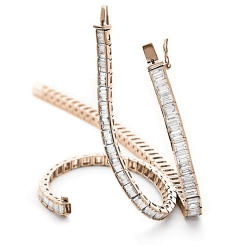 HBP028 Baguette Shape Diamond Line Bracelet - rose