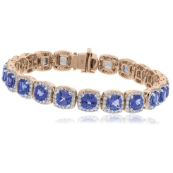 HBPGTZ053 Square Shape Tanzanite & Diamond Single Line Bracelet - rose
