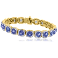 HBPGTZ053 Square Shape Tanzanite & Diamond Single Line Bracelet - yellow
