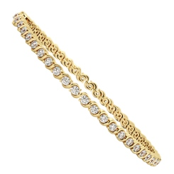 SHARAPOVA S link Round cut Diamond Line Bracelet - yellow