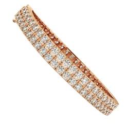 MARTINA Round Doubles Diamond Tennis Bracelet - rose