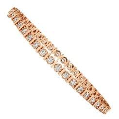 KOURNIKOVA Barred Round cut Bezel set Single Line Diamond Bracelet - rose