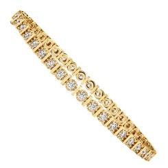 KOURNIKOVA Barred Round cut Bezel set Single Line Diamond Bracelet - yellow