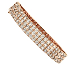MONICA Triple Row Round cut Tennis Diamond Bracelet - rose