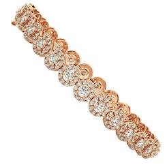 BILLIE Designer Round cut Halo Tennis Diamond Bracelet - rose