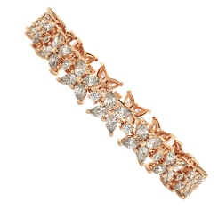EVERT Pear & Round cut Diamond Mixed Doubles Tennis Bracelet - rose