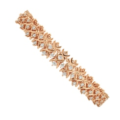 CAROLINE Round cut Crosscourt Tennis Diamond Bracelet - rose