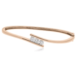 HBRDB058 Channel Set Diamond Bangle - rose