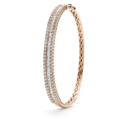 HBRDB065 Baguette & Round Diamond Bangle - rose