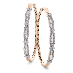 HBRDB067 Baguette & Round cut Diamond Bangle - rose
