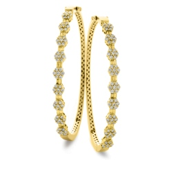 HBRDB068 Baguette & Round cut Cluster Diamond Bangle - yellow
