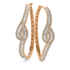 HBRDB069 Baguette & Round cut Twisted Diamond Bangle - rose