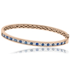HBRDBGBS070 Blue Sapphire & Diamond Diamond Bangle - rose