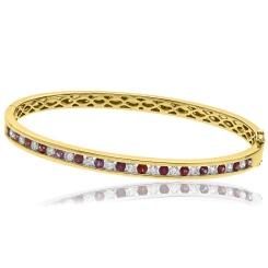 HBRDBGRY071 Ruby & Diamond Diamond Bangle - yellow