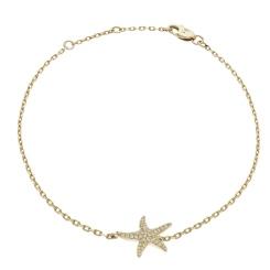 HBRDR030 Star Shape Delicate Diamond Bracelet - yellow