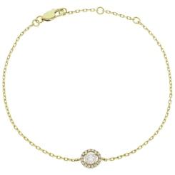 HBRDR032 Designer Halo Delicate Diamond Bracelet - yellow