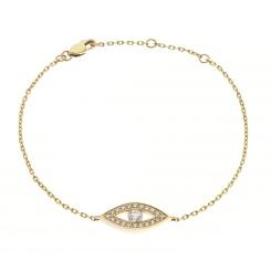 HBRDR033 Round cut Delicate Diamond Bracelet - yellow