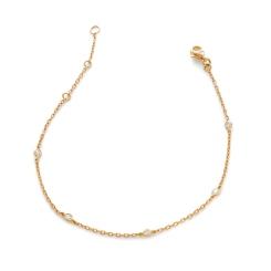 HBRDR036 Multi Charm Delicate Diamond Bracelet - rose