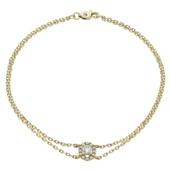 HBRDR038 Round Shape Halo Delicate Diamond Bracelet - yellow