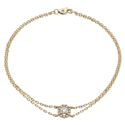 HBRDR038 Round Shape Halo Delicate Diamond Bracelet - rose