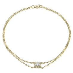 HBRDR039 Square Halo Delicate Diamond Bracelet - yellow