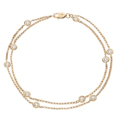 HBRDR040 Duo Chain Delicate Diamond Charm Bracelet - rose