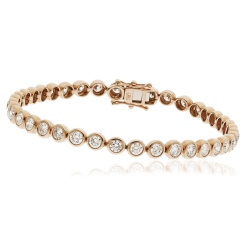 HBRDR044 Bezel Round Cut Diamond Line Bracelet - rose